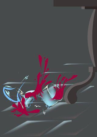 flooring: On the floor next to a table leg is broken wine glass Illustration