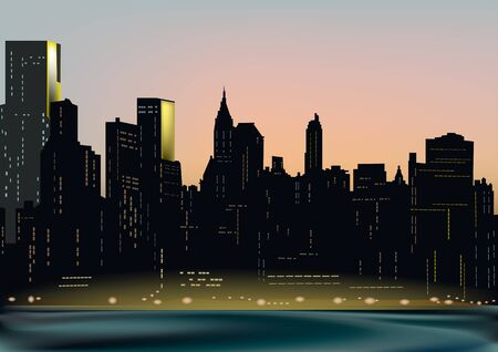 Big city by the ocean. Quay in lights Illustration