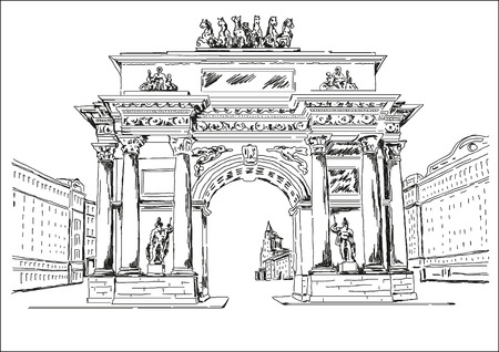 execution: Arch - a monument. The architectural monument in graphic execution