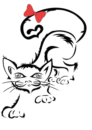 mangy: Mangy cat with a red bow on the tail Illustration