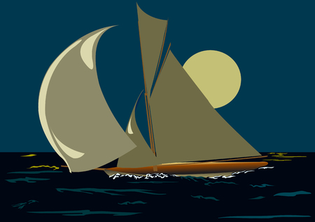 sails: ship with sails on a background of a large moon