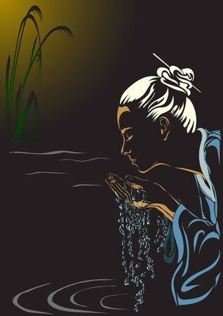 brook: A Japanese woman washed by the clean water from the creek