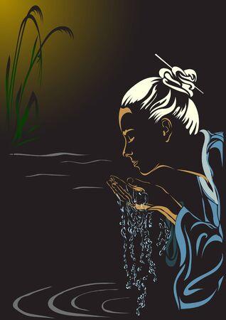 Una mujer japonesa bañada por el agua limpia de la quebrada