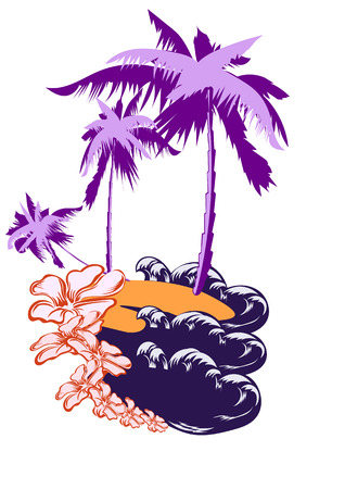 barren: The uninhabited island is washed by the waves of the ocean. On the island of palm trees and flowers Illustration