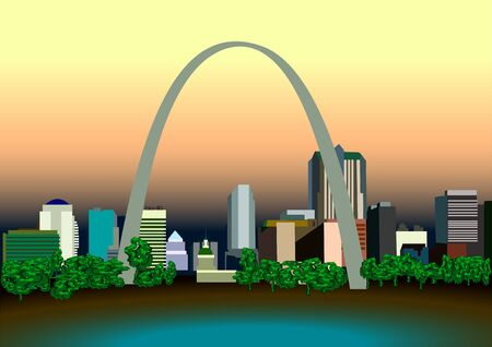 american cities: American cities. Urban landscape with skyscrapers, and the arch of trees