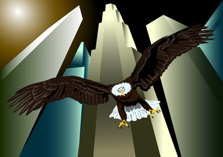 metropolis image: Flying eagle on a background of skyscrapers