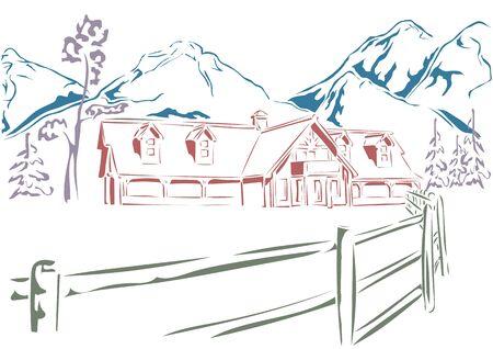 casa de campo: paisaje de invierno. Rancho, abetos y montañas en el fondo Vectores