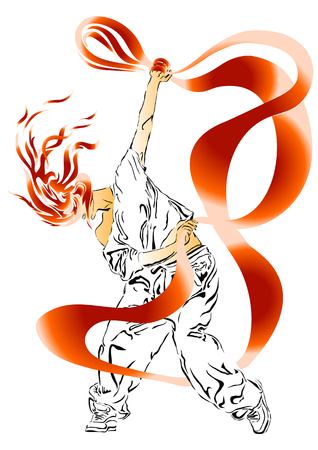 hip hop silhouette: Girl performs modern dance with ribbon - Hip Hop