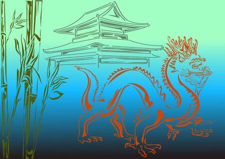 chinese temple: Chinese dragon on a background of a bamboo and a Chinese temple
