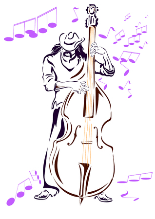 contrabass: Jazz musician in a hat and contrabass