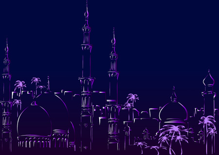 domes: Oriental City. Domes and towers against the night sky Illustration