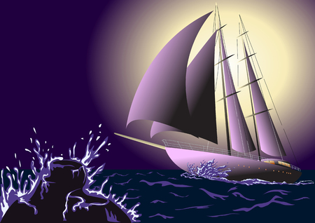 ocean waves: The yacht in the ocean, the waves and the moon Illustration