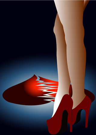 Broken heart at the feet of the woman in red shoes