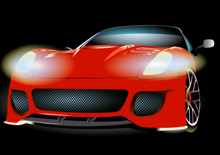 halogen lighting: Red car on a black background with headlights and a mesh radiator Illustration