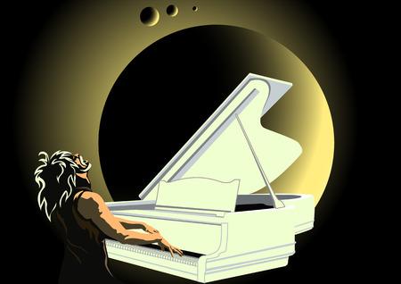 pianista: el cielo oscuro en el fondo de la luna un pianista tocar el piano blanco