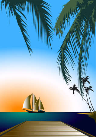 lagoon: the dawn of a sailboat in a lagoon with palm island Illustration