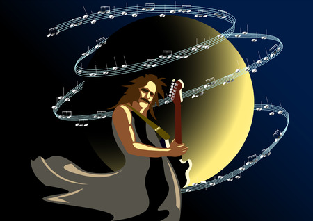 unrecognizable person: the moon on a dark background, a musician with a guitar, a whirlwind of notes Illustration