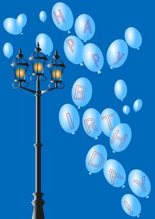street lamp: blue sky, vintage street lamp,balloons, happy birthday Illustration