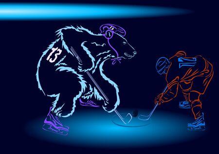 hockey goal: field hockey, bear and man playing hockey with sticks and in helmets