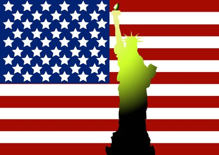 american history: Statue of Liberty on the background of the American flag