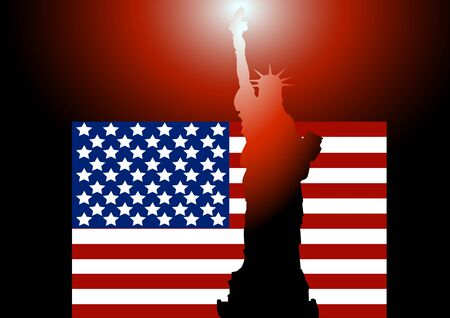 american history: night sky against a background of the American flag Statue of Liberty, the reflection of the flame from the torch Illustration