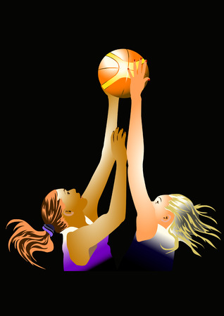 dark hair: basketball, two women are fighting for the ball,waving dark hair, orange with yellow ball Illustration