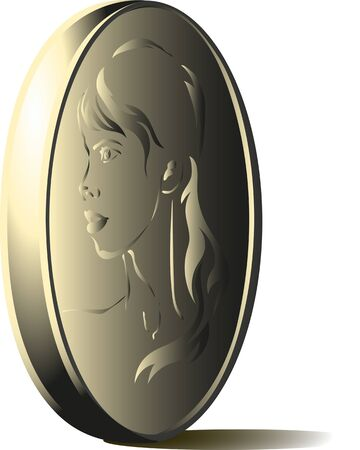 depicts: standing rib coin which depicts a womans face