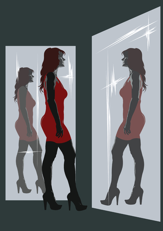 beautiful woman in a short red dress admires her reflection in the mirrors Ilustração