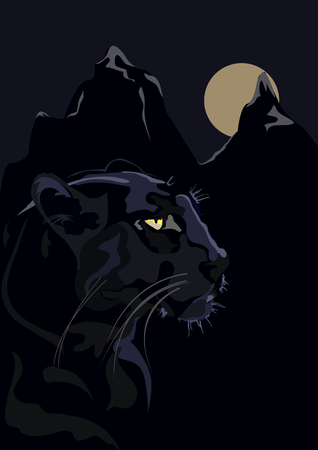 puma before a jump, with yellow eyes on a dark background Illustration