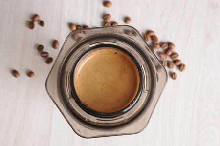 inverted: Professional fresh coffee brewing aeropress, inverted method