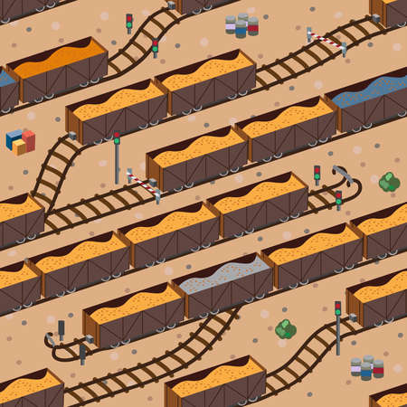 Freight train with cargo  Seamless pattern  Vector