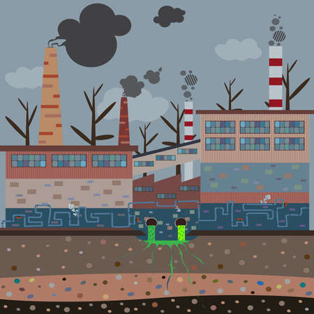 Old factory with pipes pollute the atmosphere  Illustration