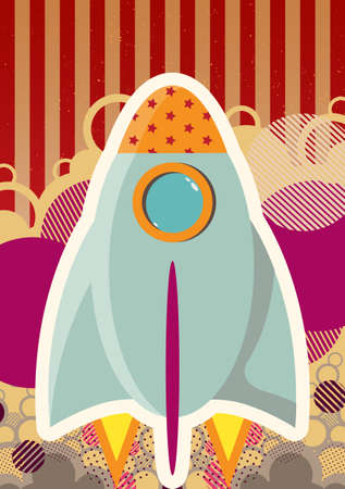 rocket takes off on an abstract background Vector