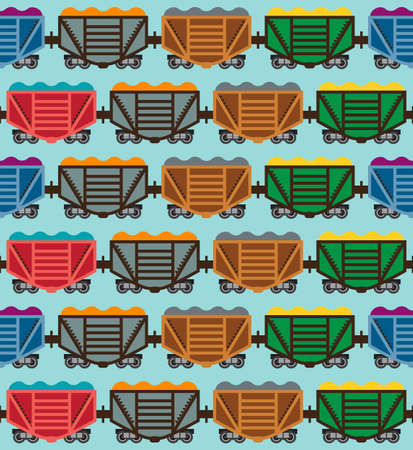 Colorful freight train on a blue background. Seamless pattern. Vector