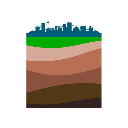 Silhouette de la ville simple. Les couches de la terre. Illustration schématique isolée sur fond blanc. Design plat Vecteurs