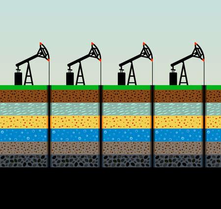 Oil pumps and rig illustration. Illustration