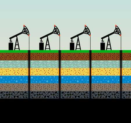 Oil pumps and rig illustration. Stock Illustratie