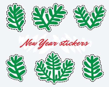 Fir branches stickers. New year clipart.
