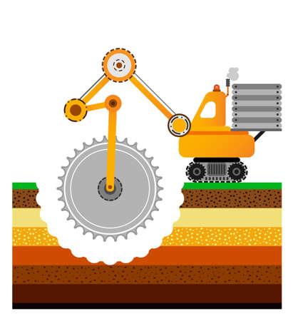 Yellow bulldozer illustration. Illustration