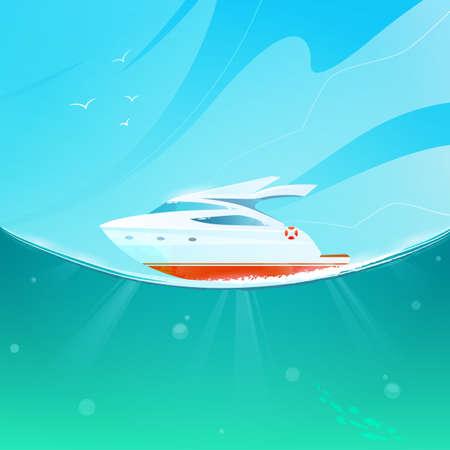 Cartoon yacht against the sky and sea.