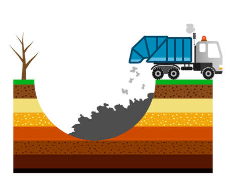 Environment pollution illustration with garbage truck. Ilustração