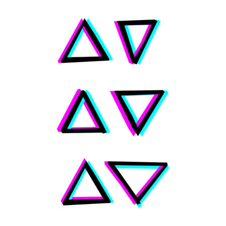 Hand painted decorative geometry shapes. Simple illustration with 3d stereoscopic effect Vettoriali