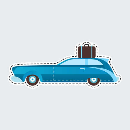 Vintage travel car in patch style. Clip art for sticker or pin. Illustration