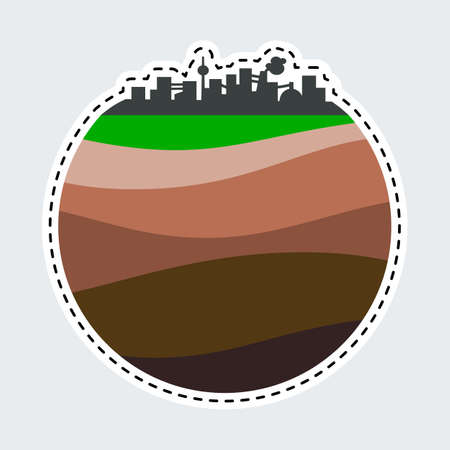 Silhouette de la ville simple dans le style de patch. Clip Art pour autocollant ou broche. Couches de la terre.