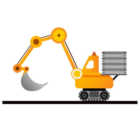 Yellow excavator on white background. Mining industry.