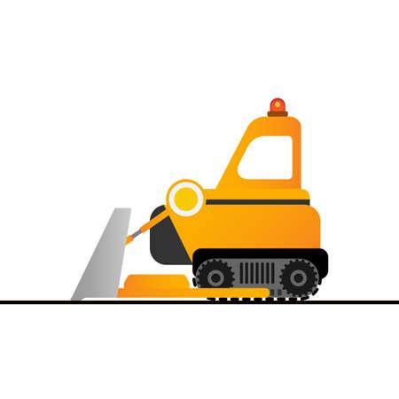 Yellow bulldozer on white background. Mining industry.