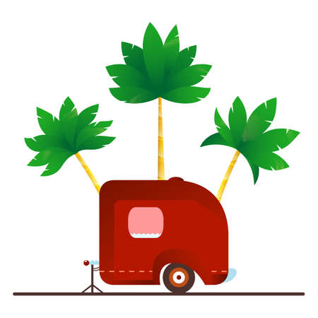 Vintage camping trailer with palm trees on the white background. Travel illustration.