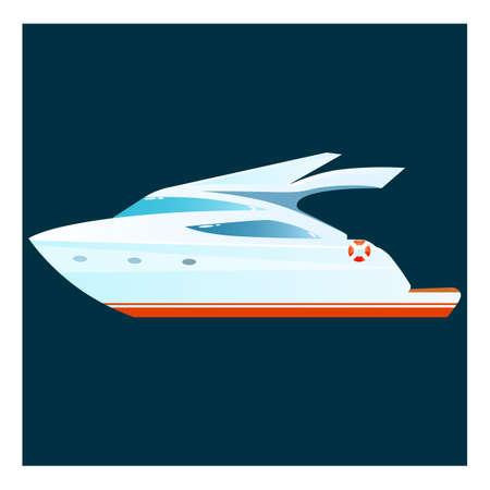 Cartoon yacht on dark background. Vector illustration.
