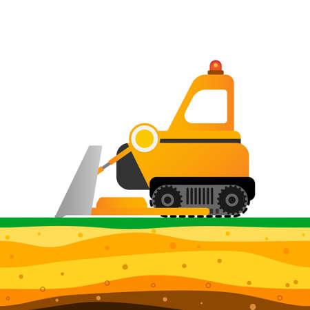 Yellow bulldozer on white background. Mining industry Vector illustration.
