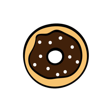 Cute chocolate donut on white background. Vector illustration. Stock Illustratie